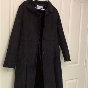 Calvin Klein Black Suede Coat Size Small